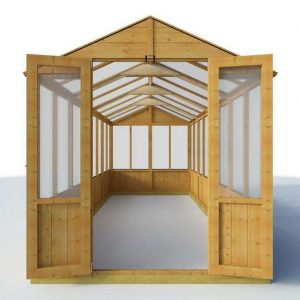 BillyOh 4000 Lincoln Wooden Polycarbonate Greenhouse Front View