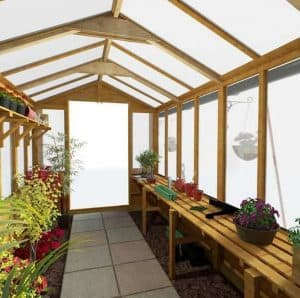 BillyOh 4000 Lincoln Wooden Polycarbonate Greenhouse Inside View