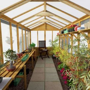 BillyOh 4000 Lincoln Wooden Polycarbonate Greenhouse Internal View