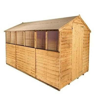 Billyoh classic 20 popular rustic overlap apex garden shed for Garden shed tesco