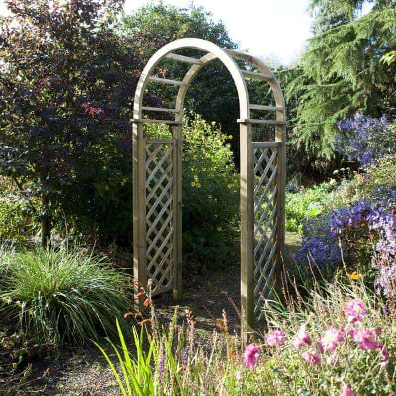 Blooma chiltern wooden garden arch what shed for Timber garden arch designs