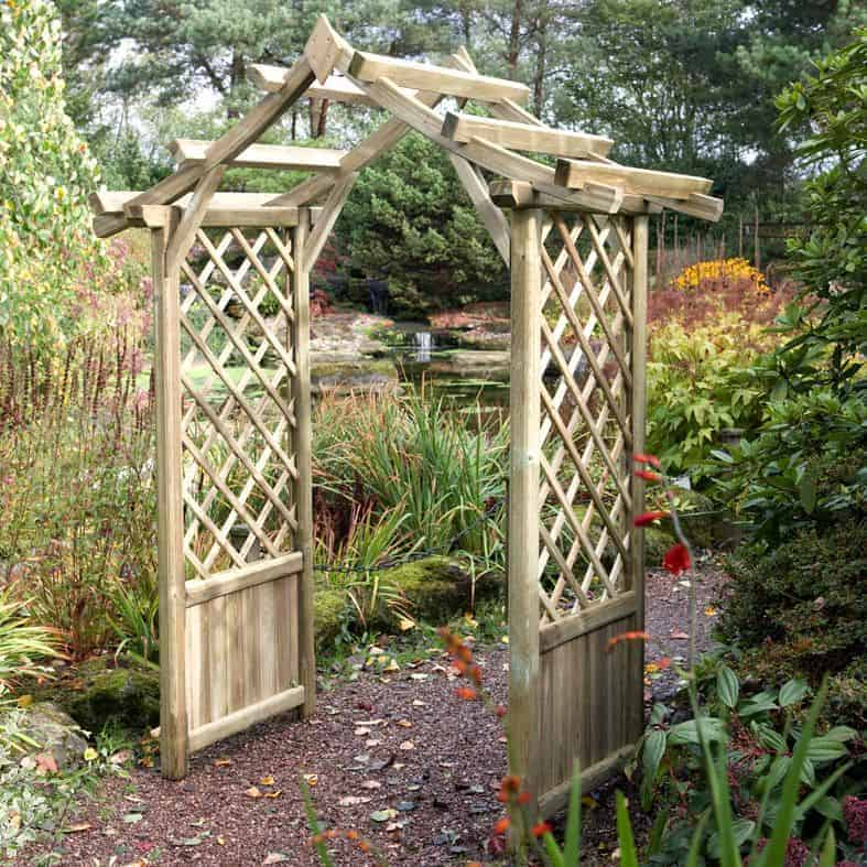 Blooma elegant wooden garden arch what shed - Garden wood arches ...