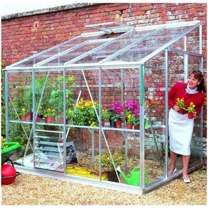 Eden Greenhouses Silver Toughened Glass Lean-To Greenhouse