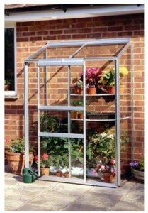 Halls Greenhouses Silver Wall Horticultural Glass Lean-To Greenhouse