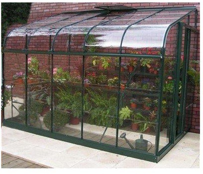 Halls Forest Green Curved Silverline 10Ft X 6Ft Lean To Greenhouse : Glazing - Long Pane Toughened Glass