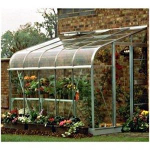 Halls Greenhouses Silverline Lean-To Toughened Glass Greenhouse