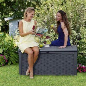 Keter Borneo Rattan Style 400 L Garden Storage Box Anthracite