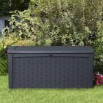 Keter Borneo Rattan Style 400 L Garden Storage Box Closed