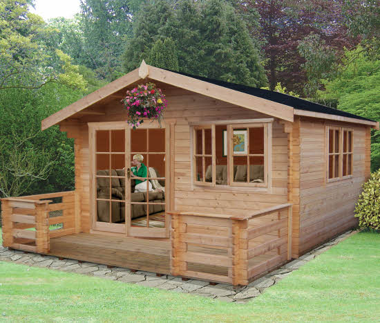 Shire Kinver Wooden Log Cabin With Terrace 14 X 18