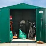 The Asgard Gladiator Plus Metal Shed in Green 7 X 11 front