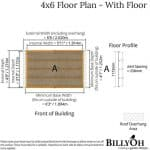 The BillyOh Bike Storage Shed 4 x 6 floor plan with floor