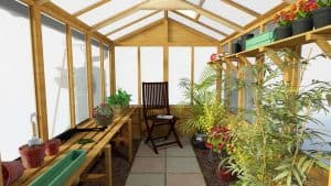 The BillyOh Lincoln 4000 Wooden Greenhouse 9 X 6 internal view