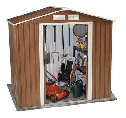 The BillyOh Sherwood Wood Grain Metal Shed Small