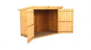 The Billyoh 300 Pent Tongue Groove Bike Storage or Mini Shed 3 X 6 open door
