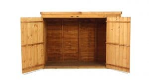 The Billyoh 300 Pent Tongue Groove Bike Storage or Mini Shed 3 X 6 open door front view