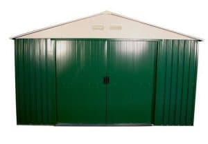 The Billyoh Carrington Metal Shed 10 X 8 front view doors closed
