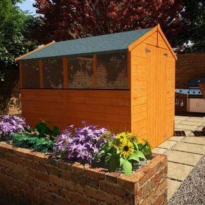 The Billyoh Lincoln 4000 Popular Tongue and Groove Double Door Apex Garden Shed 8 X 6 side view
