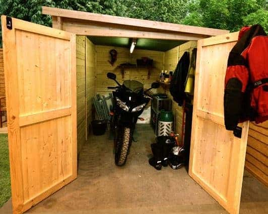 the billyoh motorbike storage shed 7x9 front with bike