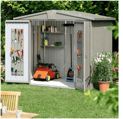 The Biohort Europa 1 Metal Shed in Quartz Grey