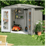 The Biohort Europa 2A Metal Shed in Quartz Grey