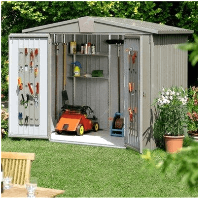 The Biohort Europa 3 Metal Shed in Quartz Grey