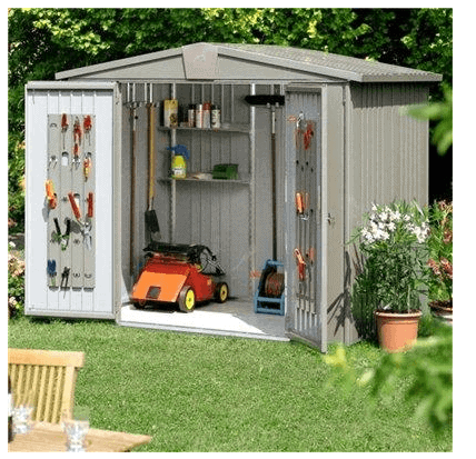The Biohort Europa 4 Metal Shed in Quartz Grey