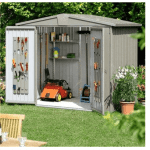 The Biohort Europa 4A Metal Shed in Quartz Grey