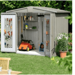 The Biohort Europa 5 Metal Shed in Quartz Grey