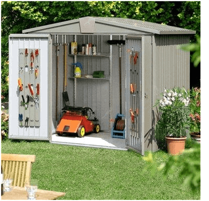 The Biohort Europa 6 Metal Shed in Quartz Grey