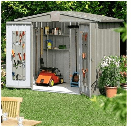 The Biohort Europa 7 Metal Garden Shed in Quartz Grey