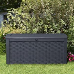 The Keter Borneo Rattan Style Storage Box 4 X 2 closed door