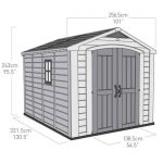 The Keter Garden Storage Fortis Plastic Garden Shed Overall Dimension