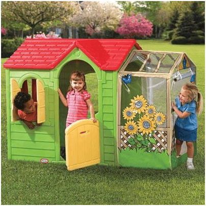The Little Tikes Garden Cottage Plastic Playhouse in Evergreen