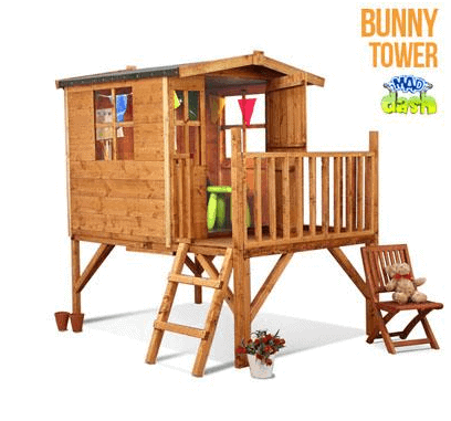 The Mad Dash Bunny Tower Wooden Playhouse