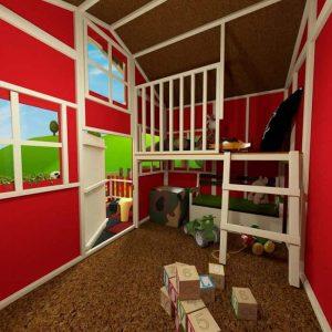 The Mad Dash Dutch Barn Wooden Playhouse 6 X 7 internal view