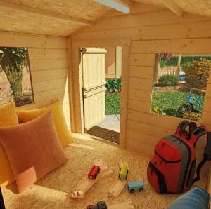 The Mad Dash Junior Log Cabin Wooden Playhouse 6 X 6 inside view