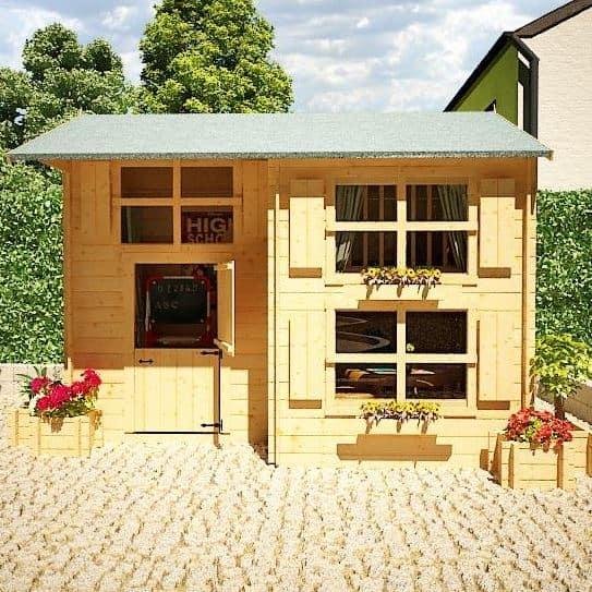 The Mad Dash Log Cabin Annex Wooden Playhouse