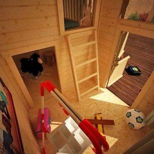 The Mad Dash Log Cabin Annex Wooden Playhouse 10 X 8 X 8 internal view