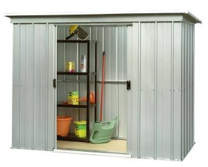 The Yardmaster 64PZ Pent Metal Shed Open Door