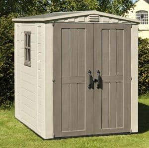 The keter Plastic Gemini Shed 6X6 closed door
