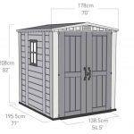 The keter Plastic Gemini Shed 6X6 overall dimension