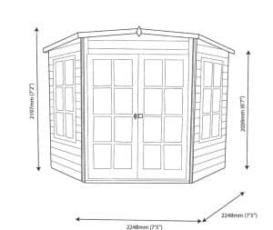 10 X 10 Hampton Shiplap Timber Summerhouse Dimensions