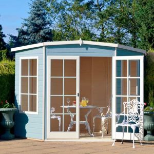 10 X 10 Hampton Shiplap Timber Summerhouse Skyblue Colour