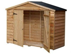 7X3 Overlap Apex Wooden Bike Store & Easy Fit Roof Empty Inside