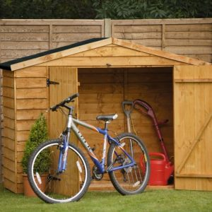 7X3 Overlap Apex Wooden Bike Store & Easy Fit Roof Front View