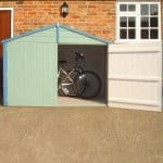 7X3 Shiplap Wooden Bike Store Blooma Single Door Open