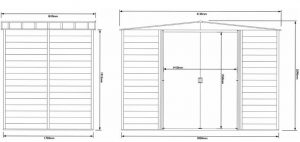 Base Rowlinson Woodvale Metal Shed 10 x 6 Overall Dimensions