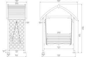 Blooma Barmouth Timber Swing Arbour Dimensions