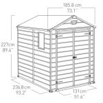Blooma Brown Plastic Double Door Shed 8X6 dimensions