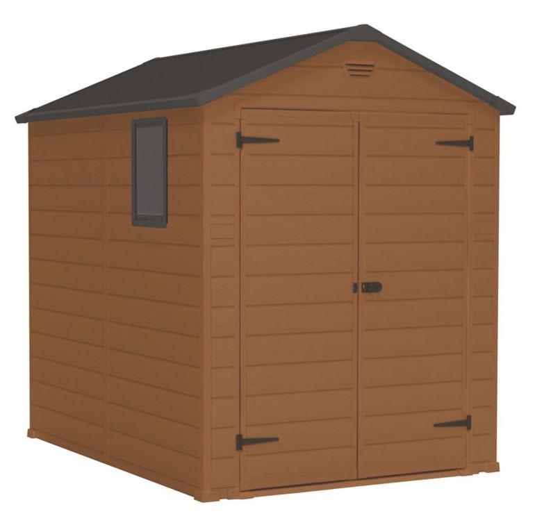 Blooma brown plastic double door shed - Brown plastic garden sheds ...